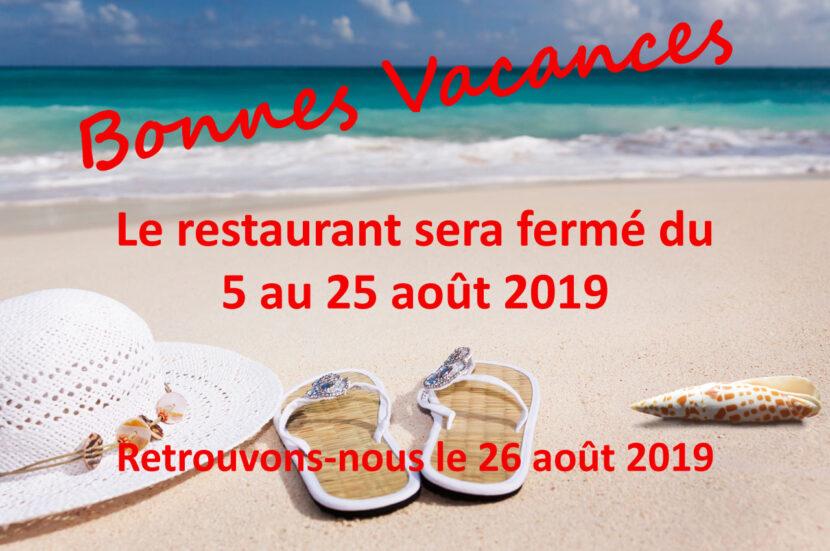 Images décrivant la fermeture annuel du restaurant